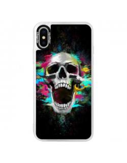 Neonové pouzdro Blue iSaprio - Skull in Colors - iPhone X